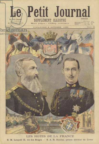 Royal visitors to France: Leopold II, King of the Belgians and Crown Prince Nicholas of Greece (colour litho)