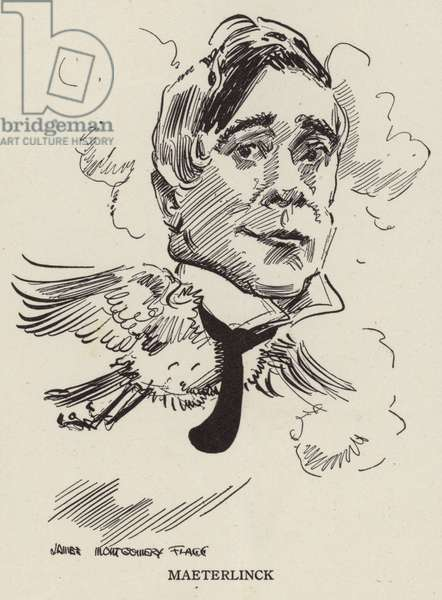 Maurice Maeterlinck, Belgian poet and playwright (litho)