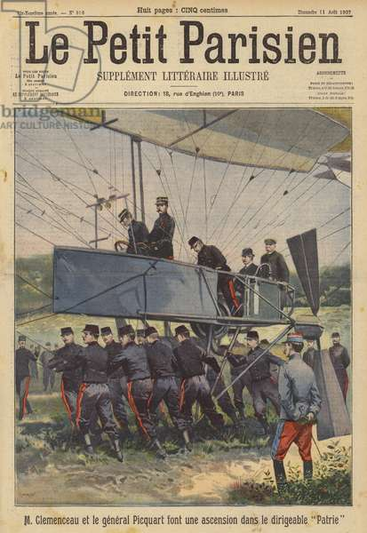 French Prime Minister Georges Clemenceau and Minister of War General Georges Picquart making an ascent in the military airship Patrie (colour litho)