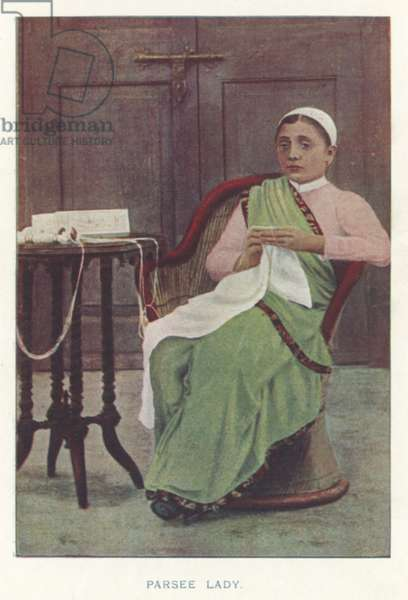 Indian Natives: Parsee Lady (coloured photo)