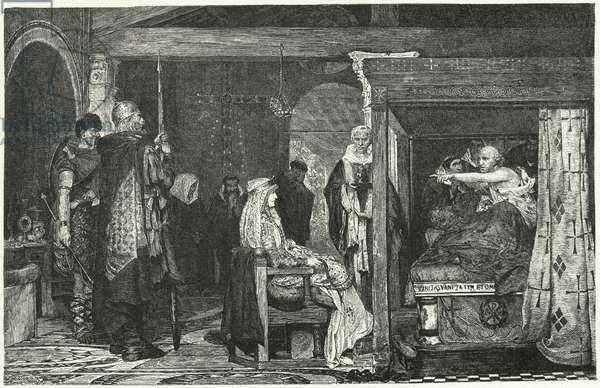 Queen Fredegund at the deathbed of Bishop Praetextatus, 586 (engraving)
