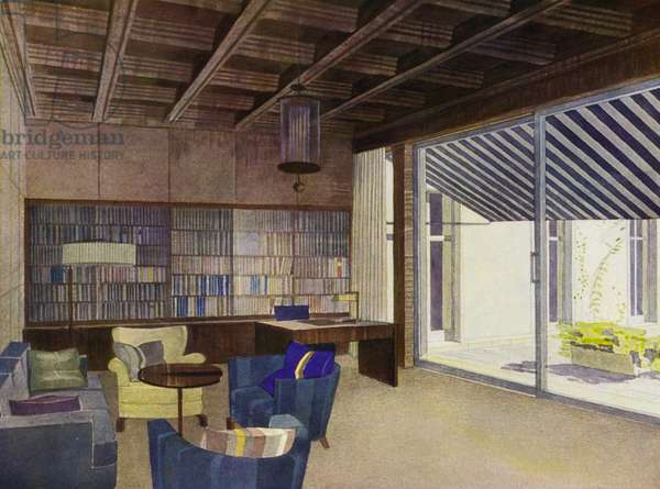 1930s interiors: Library with terrace (colour litho)