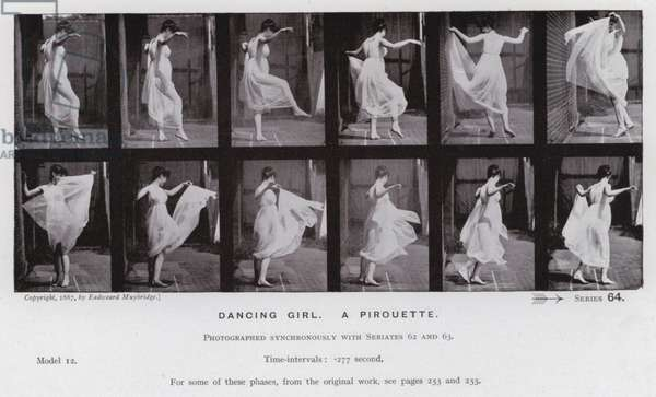 The Human Figure in Motion: Dancing girl, a pirouette (b/w photo)