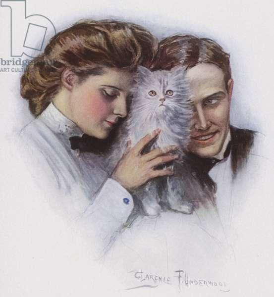 Couple with a cat (colour litho)