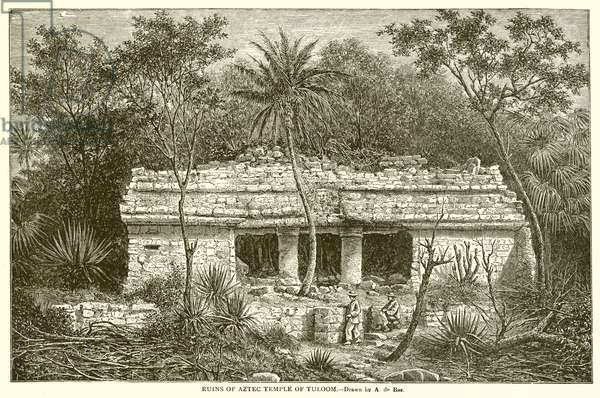 Ruins of Aztec Temple of Tuloom (engraving)