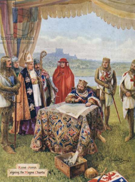 King John Signing Magna Charta (colour litho)