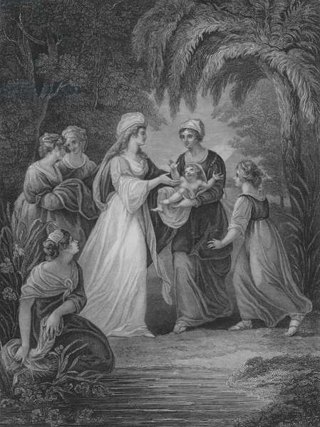 The Finding of Moses, Exodux 2, Verse 5-11 (engraving)