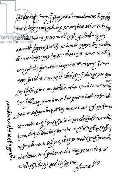 Letter of King James I to his son Charles, Prince Of Wales (engraving)