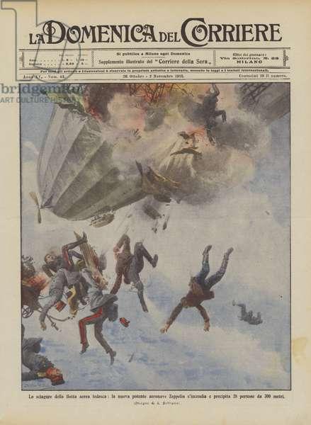 Le sciagure della flotta aerea tedesca, la nuova potente aeronave Zeppelin s'incendia e precipita … (colour litho)