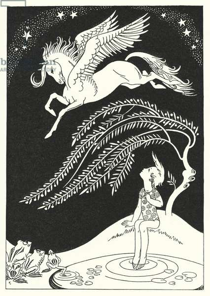 Downward came Pegasus, in wide sweeping circles (colour litho)
