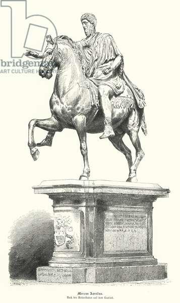 Equestrian statue of Marcus Aurelius, Roman emperor (engraving)
