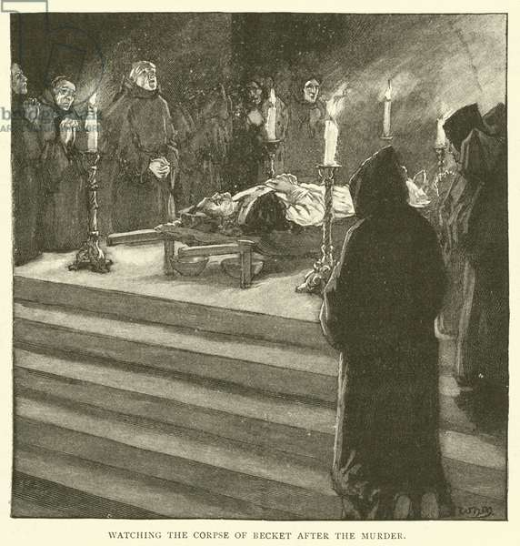 Watching the corpse of Becket after the murder (engraving)