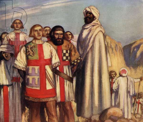 The Red Cross Knights in the Power of Saladin (colour litho)