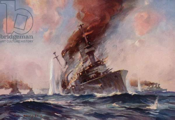 The Battle of the Falklands: the sinking of the Scharnhorst (colour litho)