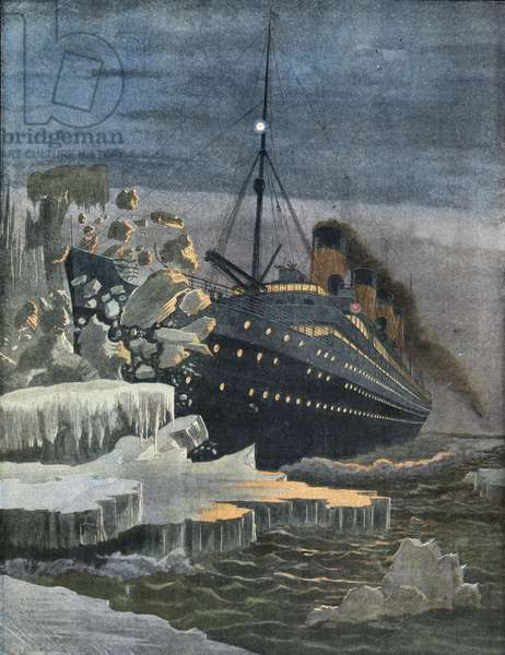 The Titanic collides with an iceberg.
