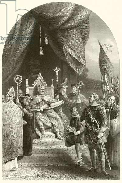 King John sealing Magna Charta (engraving)