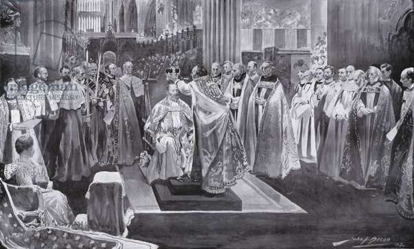 The crowning of King Edward VII by the Archbishop of Canterbuty, Westminster Abbey, London, 1902 (litho)