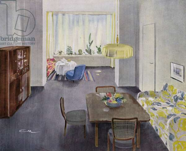 1930s interiors: Living-room with flower window (colour litho)