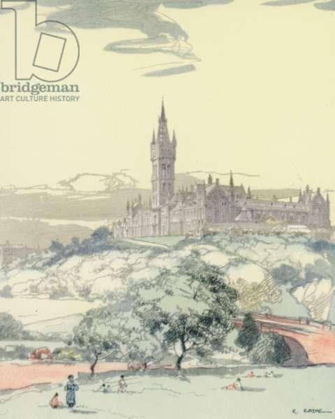 Glasgow: The University (colour litho)