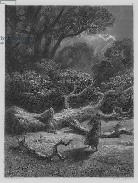 Vivien encloses Merlin in the Tree (engraving)