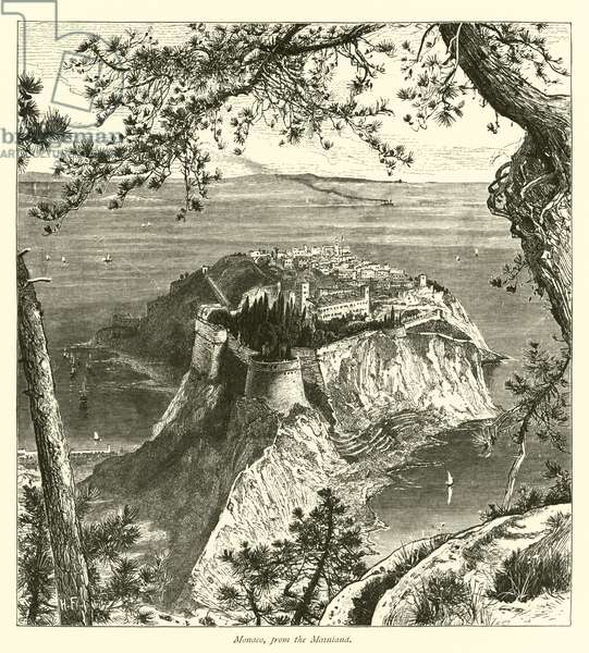 Monaco, from the Mainland (engraving)