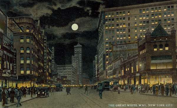 The Great White Way, New York City (colour litho)