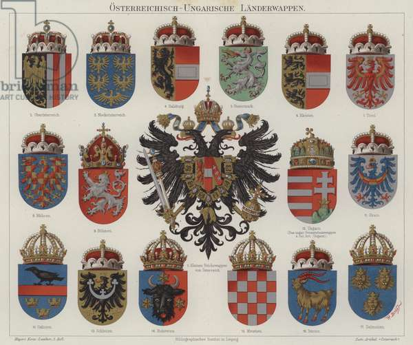Coats of arms of the Austro-Hungarian Empire (colour litho)