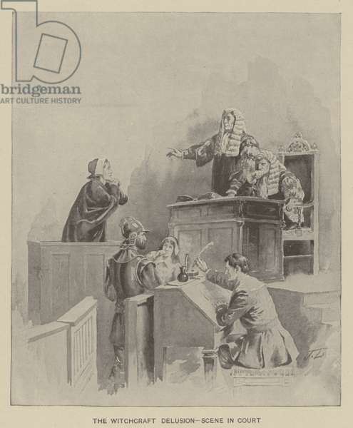 The witchcraft delusion - scene in court (litho)