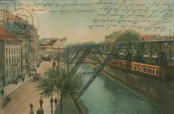 Barmen - new monorail route. Postcard sent in 1913.