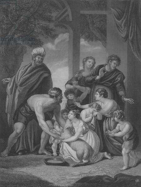 Nathan's Parable, 2 Samuel 12, Verse 1-15 (engraving)