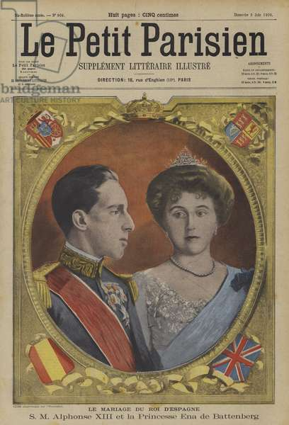 Marriage of King Alfonso XIII of Spain and Princess Victoria Eugenie of Battenberg (colour litho)
