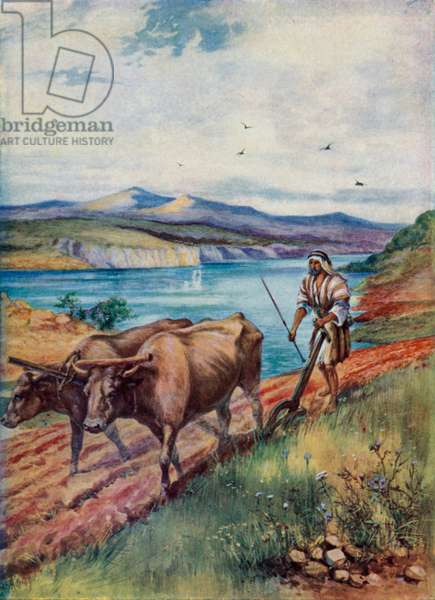 Ploughing in the Land of Jesus (colour litho)