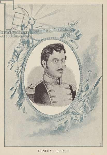 Simon Bolivar, Venezuelan political and military leader (litho)
