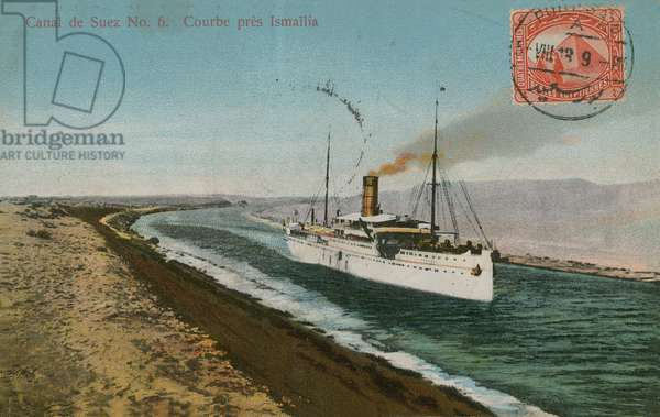 Bend near Ismailia, Suez Canal. Postcard sent in 1913.