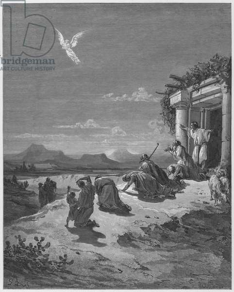 Gustave Dore Bible: The Angel Raphael and the family of Tobit (engraving)