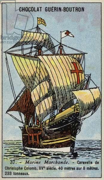 Caravel of Christopher Columbus, 15th Century (chromolitho)
