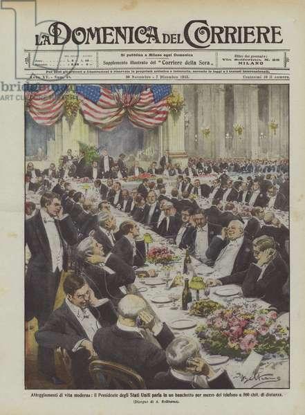 Atteggiamenti di vita moderna, il Presidente degli Stati Uniti parla in un banchetto per mezzo del … (colour litho)