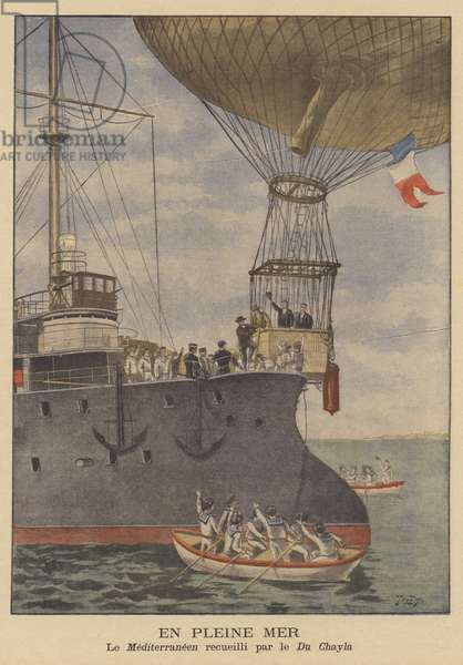 A balloon landing on a warship (colour litho)