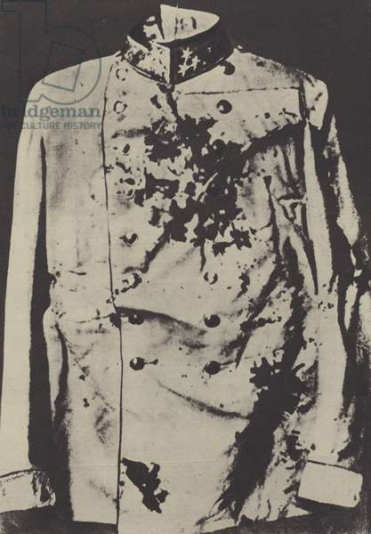 Tunic of the assassinated Archduke Franz Ferdinand of Austria, 1914 (b/w photo)