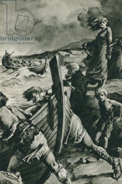 The Vikings who sailed out from the fjords of Norway and found America long before Columbus (litho)