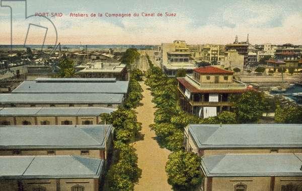 Workshops, Suez Canal Company, Port Said (colour photo)