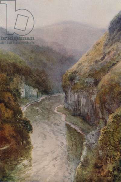 The Wye near Cressbrook Dale (colour litho)