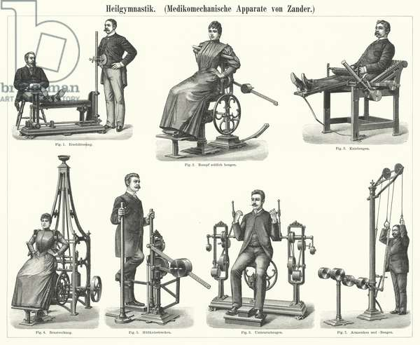 Physiotherapy: mechanotherapy apparatus invented by Swedish physician and orthopedist Gustav Zander (engraving)