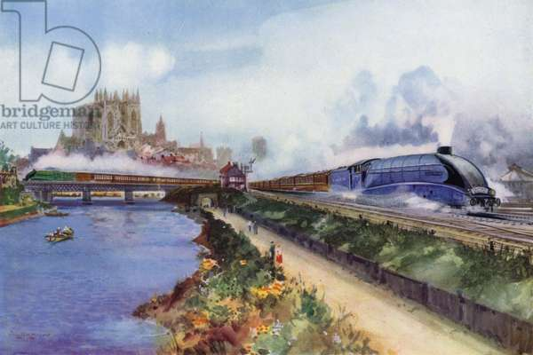 The Flying Scotsman, hauled by a London and North Eastern Railway (LNER) Class A4 Streamlined Pacific locomotive, heading north past York Minster and the River Ouse, Yorkshire (colour litho)