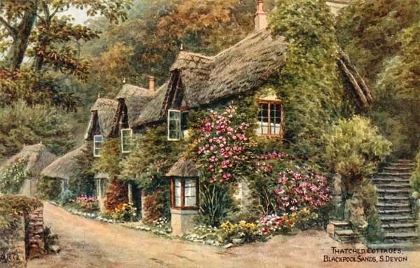 Thatched Cottages, Blackpool Sands, S Devon (colour litho)