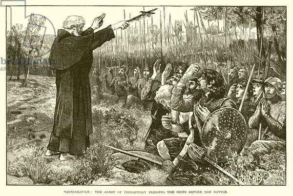 Bannockburn: The Abbot of Inchaffray blessing the Scots before the battle (engraving)