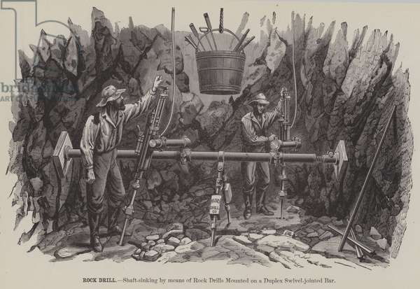 Rock Drill, Shaft-sinking by means of Rock Drills Mounted on a Duplex Swivel-jointed Bar (engraving)