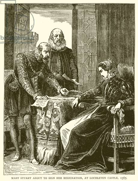 Mary Stuart about Sign her Resignation, at Lochleven Castle, 1567 (engraving)