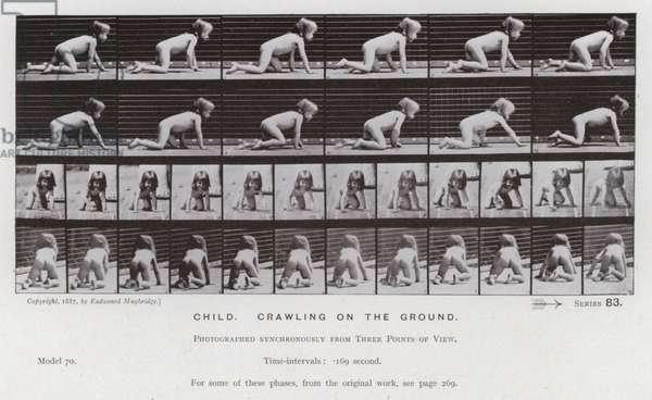The Human Figure in Motion: Child, crawling on the ground (b/w photo)