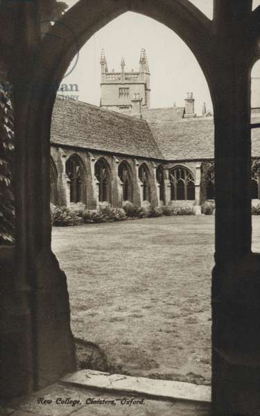 Cloisters of New College, Oxford, Oxfordshire (b/w photo)